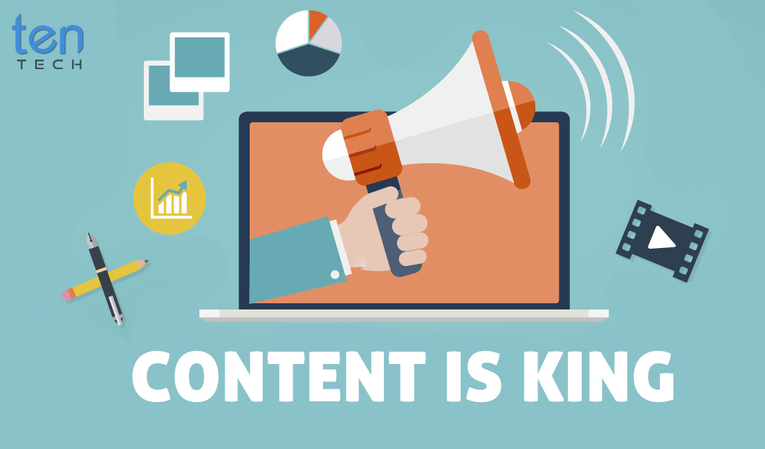 Content Is King Vector With TenTech Media Logo