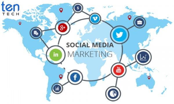 Social Media Marketing Vector With TenTech Media Logo